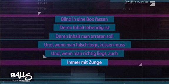 Cliparts.tv Interactive Media Solutions GmbH - Spieletechnik für Balls - Für Geld tu ich alles - Copyright 2020 ProSieben 288 005